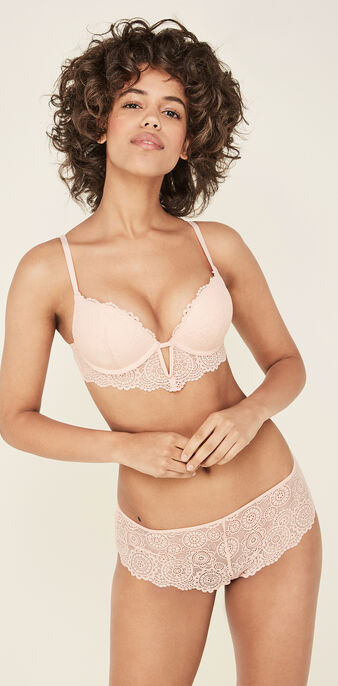 Milianiz powder pink ultra push-up bra pink.