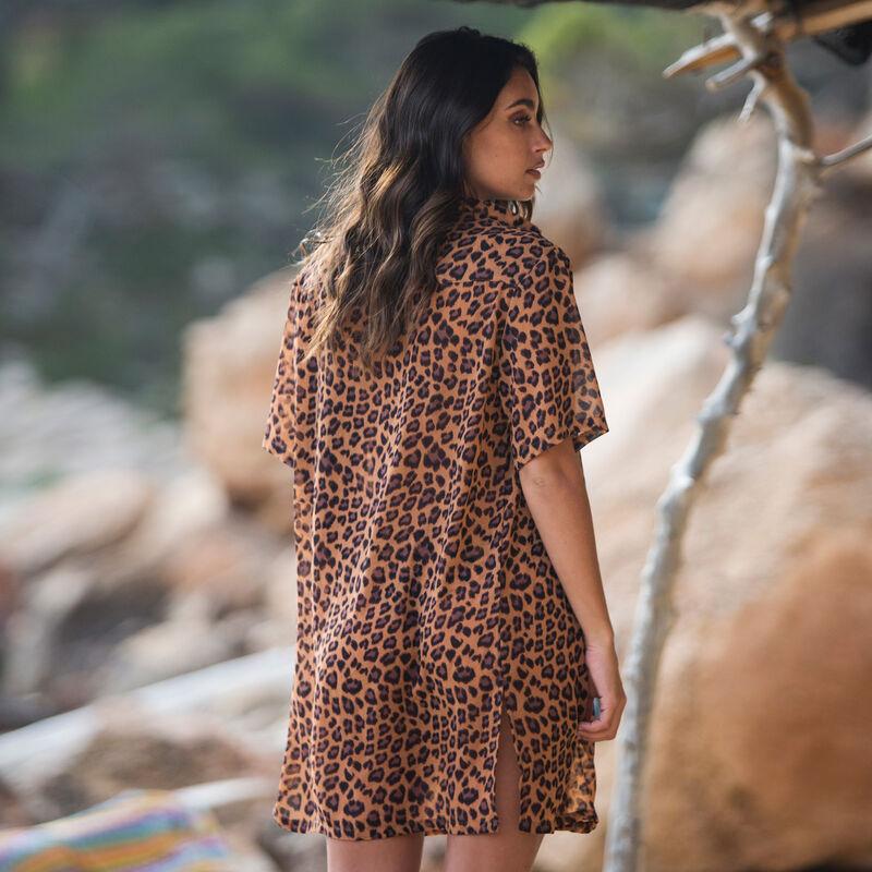 leopard print beach shirt - brown ;