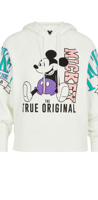 Dresowa bluza z kapturem z printem myszki miki mickeymousiz złamana biel.