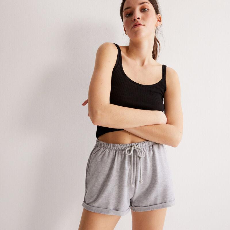 plain shorts with drawstring detail - grey;