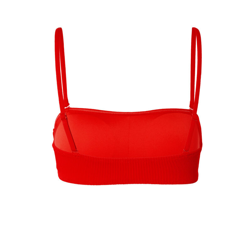 гофрированный купальный бюстгальтер фасона бандо - красный;