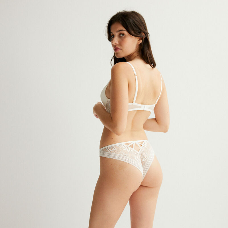 push-up bra with ties and a jewellery detail - ecru;