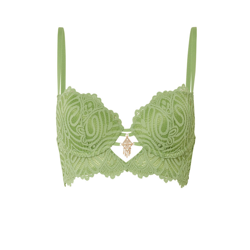 бюстгальтер-бюстье с уплотненными чашками и украшением - зеленый;