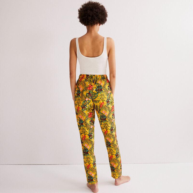 tropical print trousers - black;