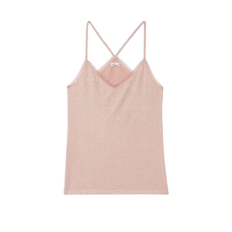 sequinned top with lace edges - nude pink;