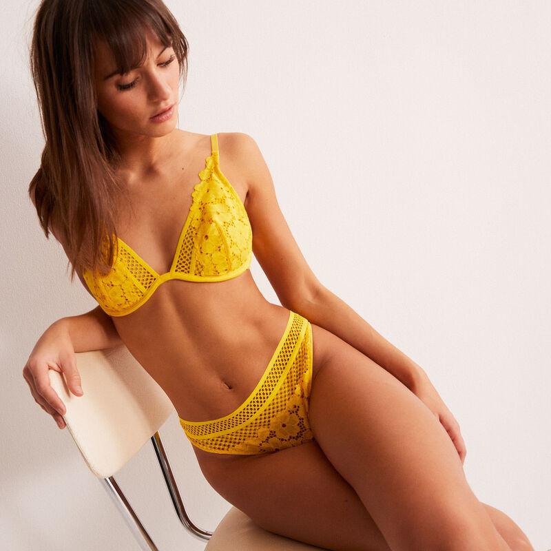 brazyliany tanga z koronki w kwiatki i siateczki - żółte;