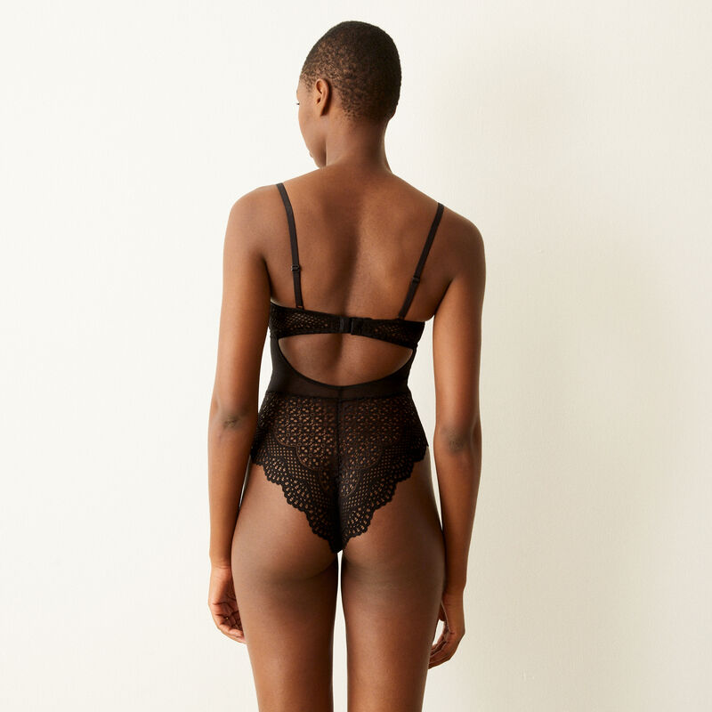Lace push-up bodysuit with straps - black ;