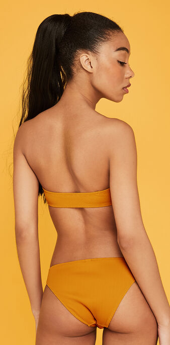 Safrangelbes bikini-oberteil in bandeau-form gaufriz yellow.