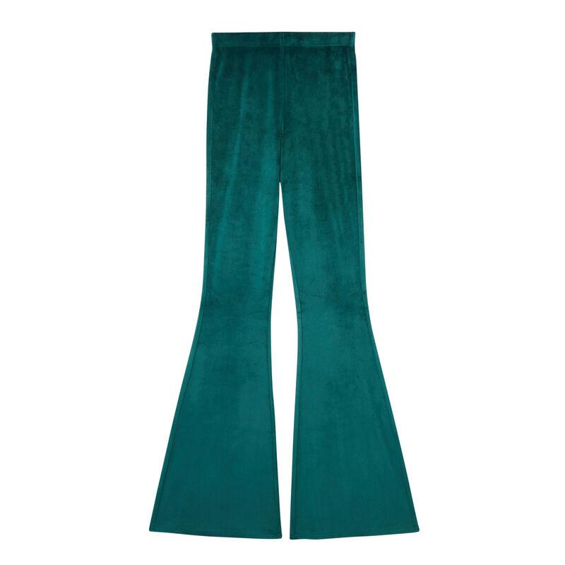 High-waisted velvet bellbottom trousers - fir;