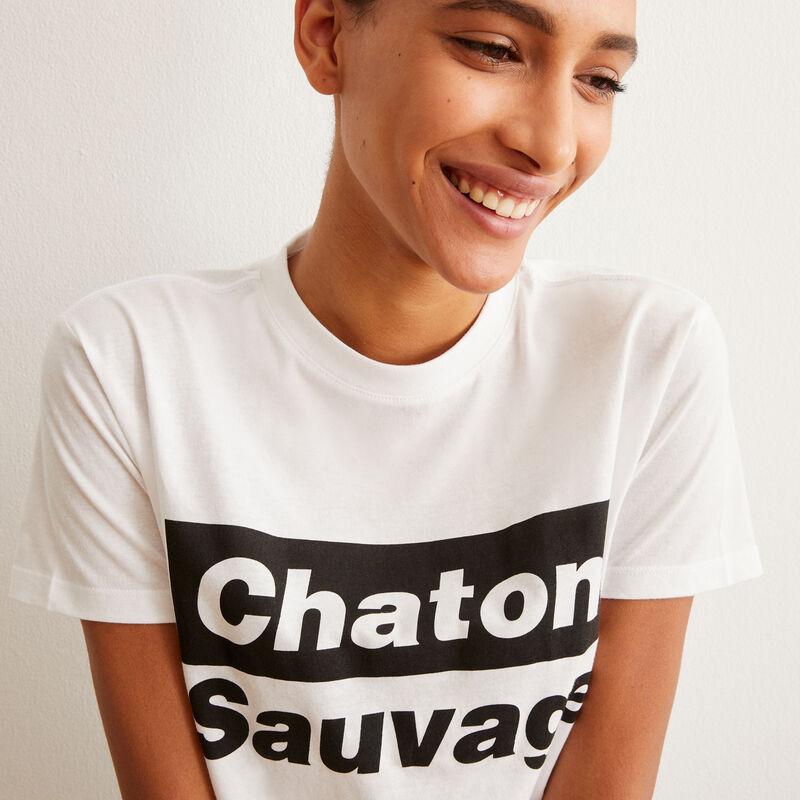 chaton sauvage short-sleeved pyjama set - white;