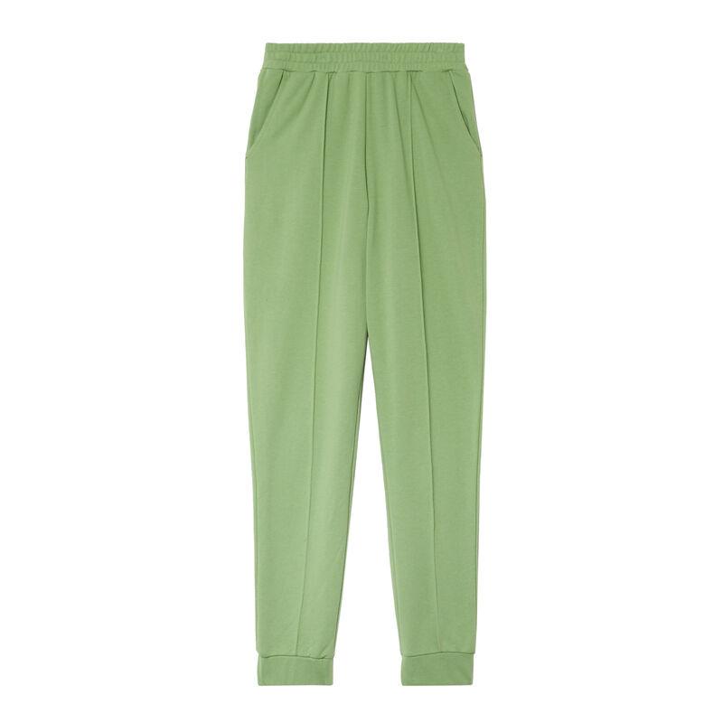 spodnie z marszczoną talią ze szwem — zielone;