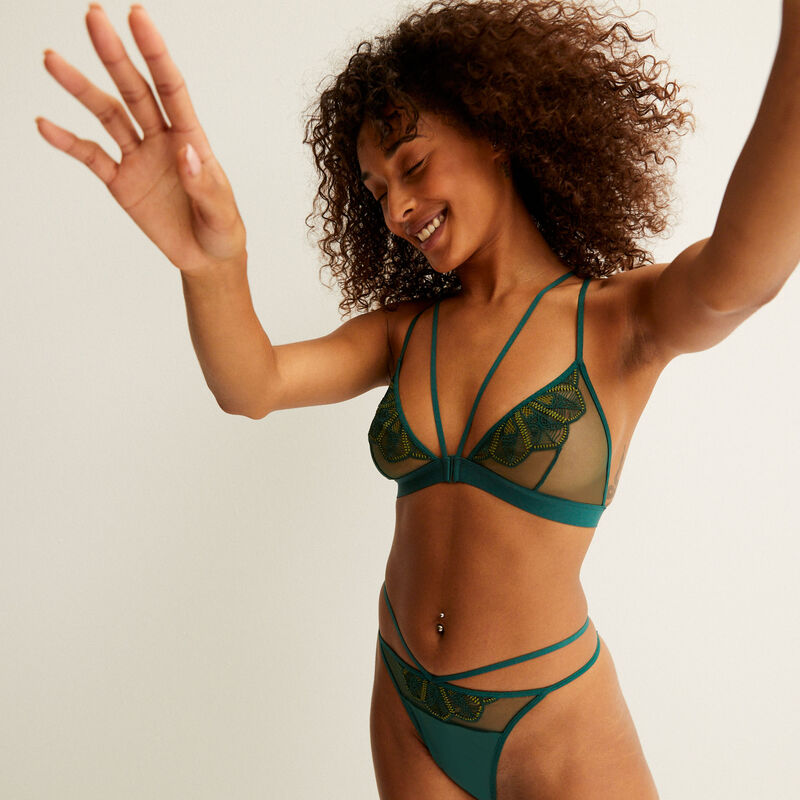 guipure triangle bra with back straps - fir green;