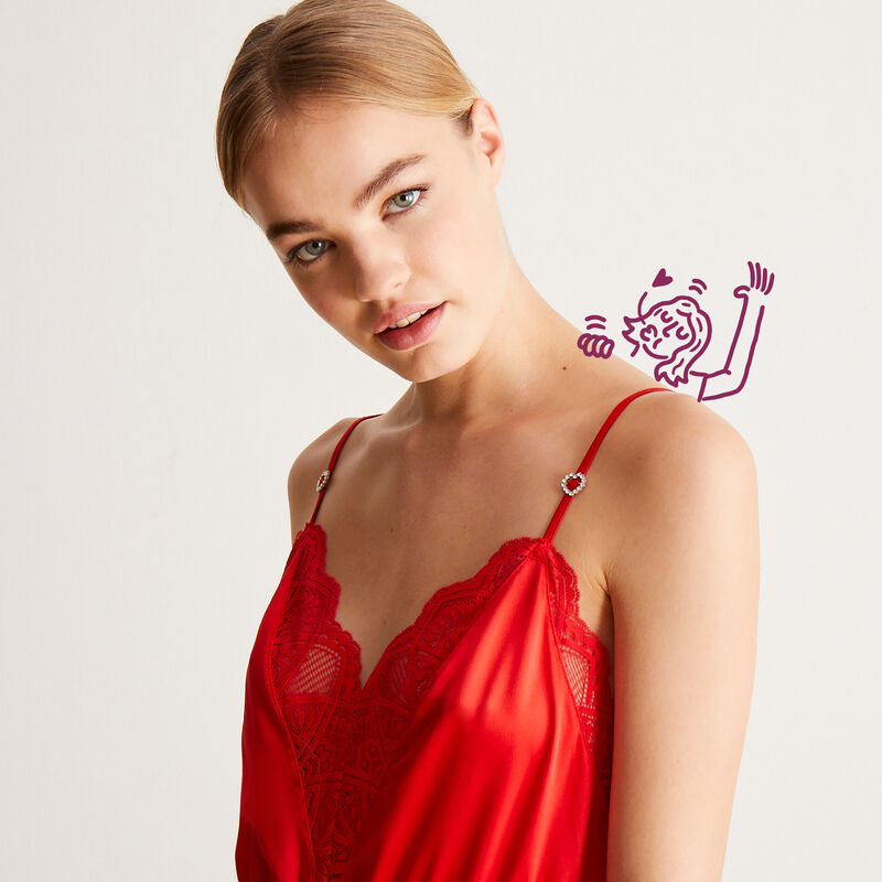 lace and satin playsuit with laced back - red;