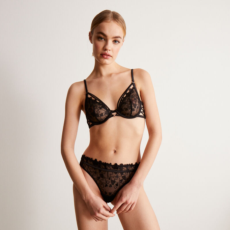 lace tanga briefs with heart and ties - black;