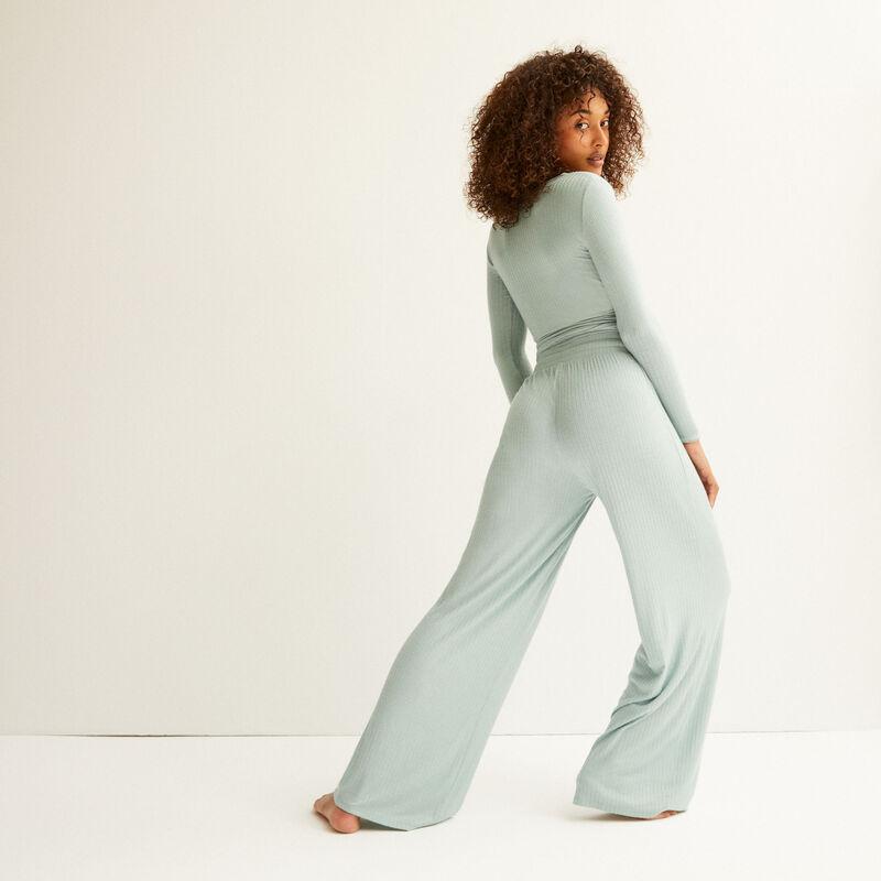 flared knit trousers - aqua;