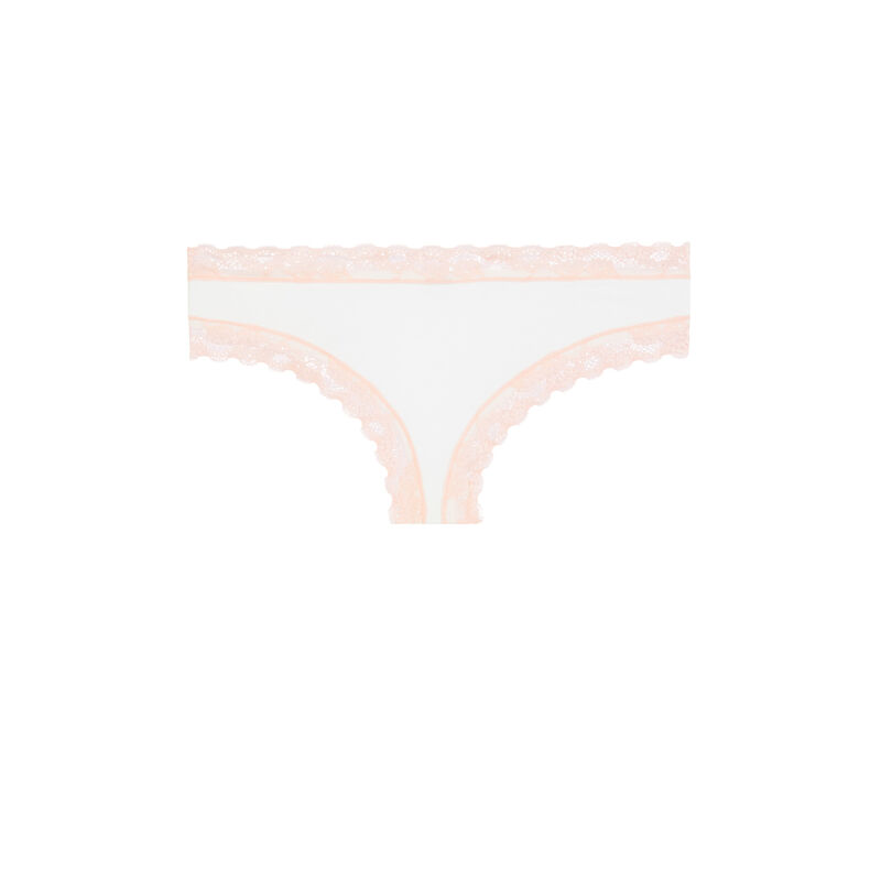 Cotton shorty with lace detail - white;