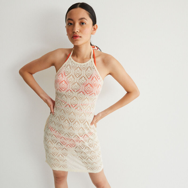 lace backless dress with tie - ecru;