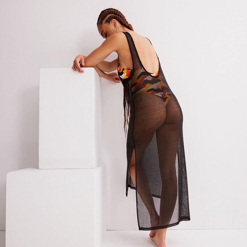 прозрачное платье средней длины - черный;