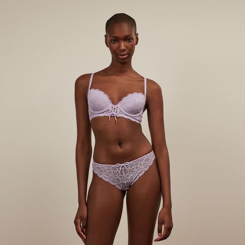 lace padded bra - lilac ;