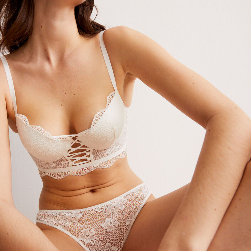 push-up low-cut bustier bra with lacing - off-white;