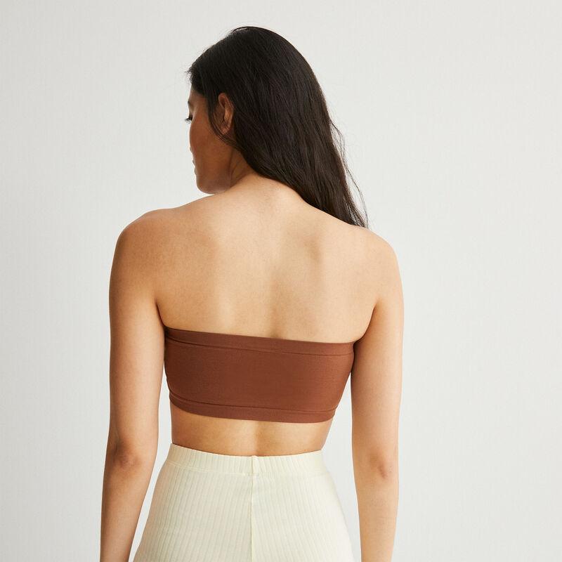 plain bandeau bra - brown;