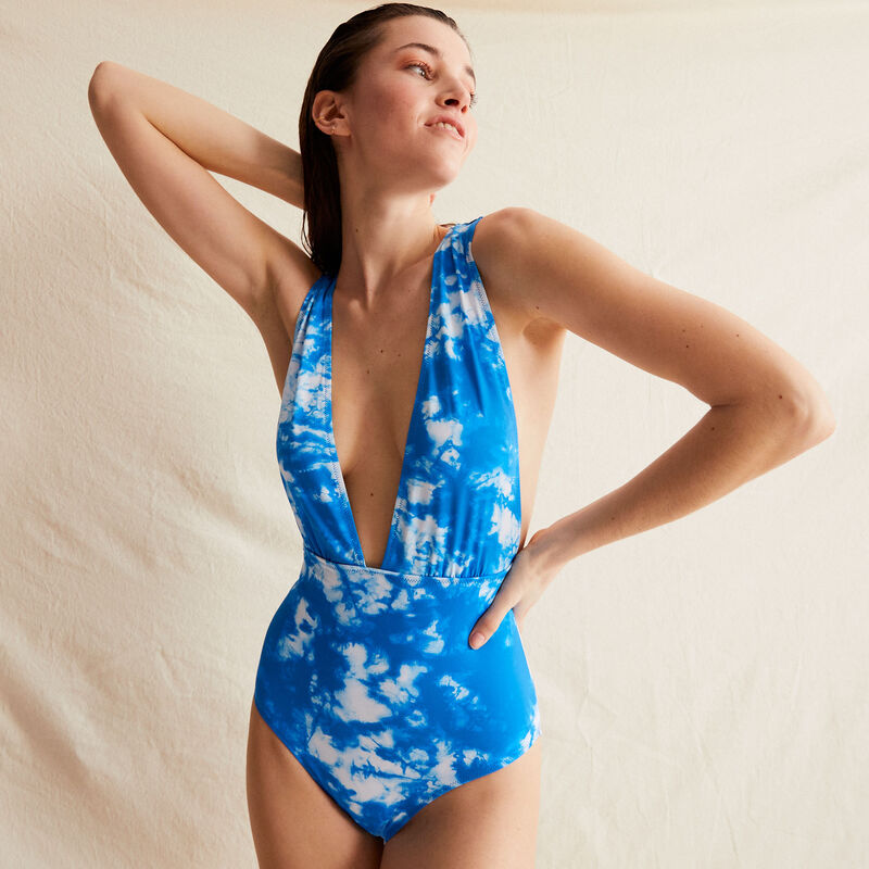 one-piece plunging neckline swimsuit - blue;