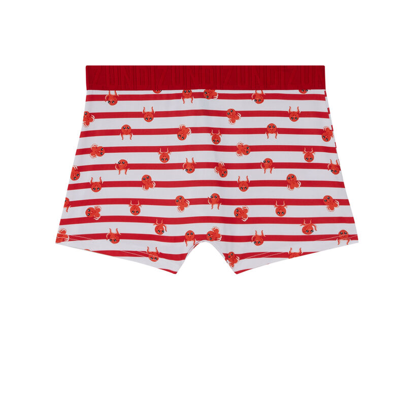 striped octopus boxers - red;
