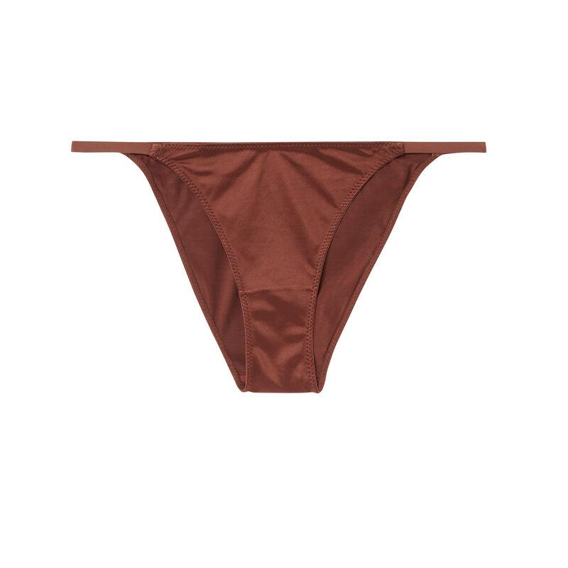 gładkie figi z mikrofibry – kolor brązowy;