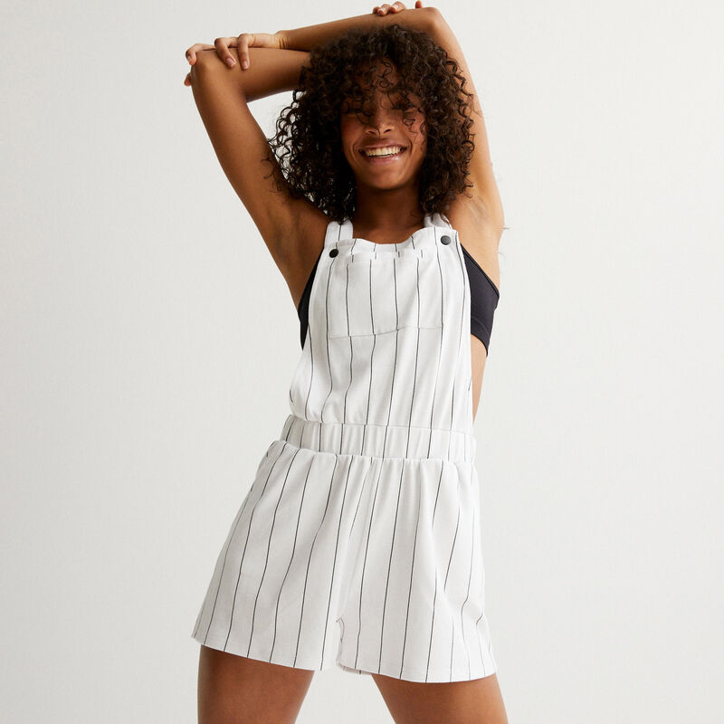 Striped short jumpsuit - white;