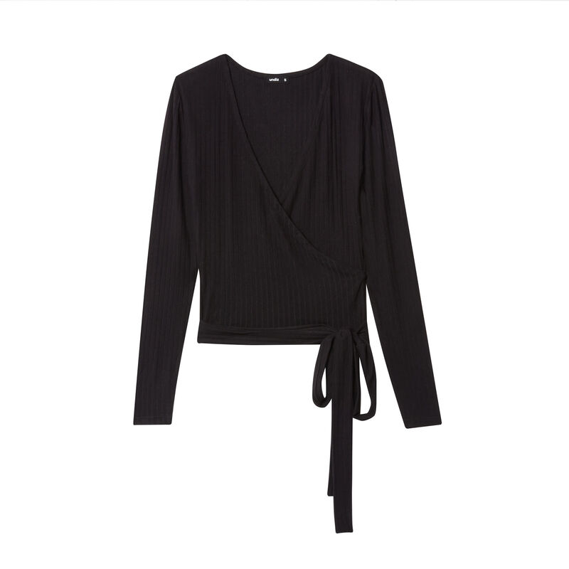 knit wrap top with bow - black;