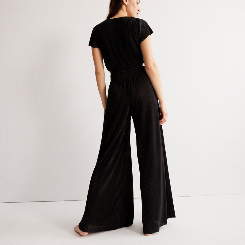 pleated elasticated gathered trousers - black;
