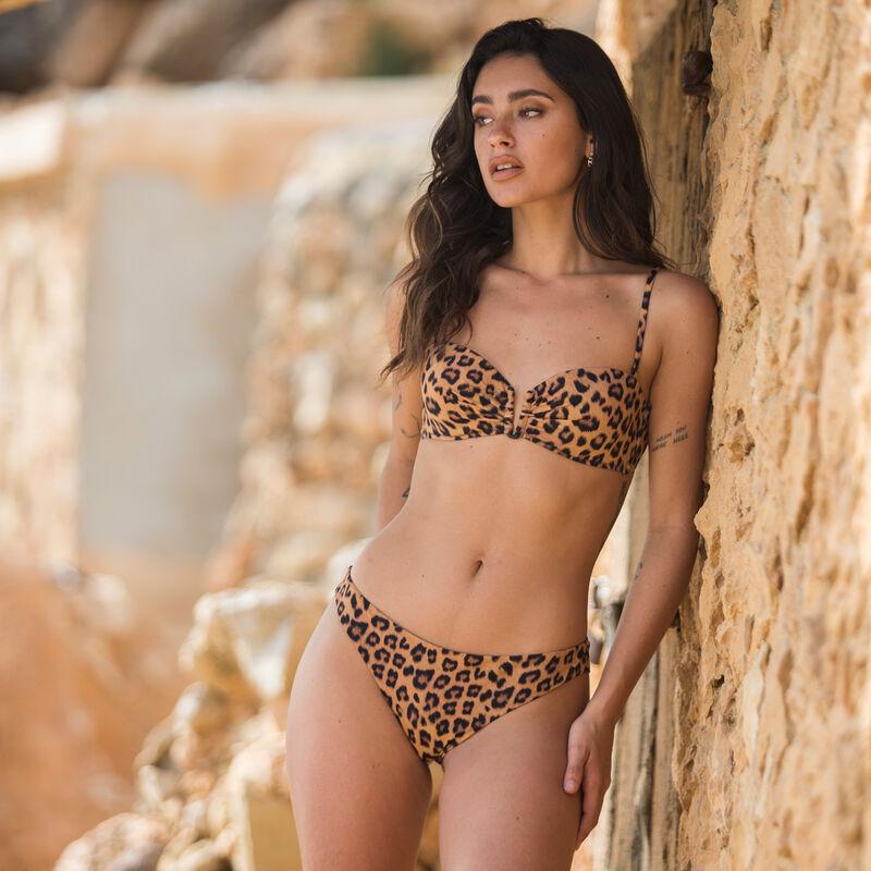 leopard print bikini bottoms - brown;