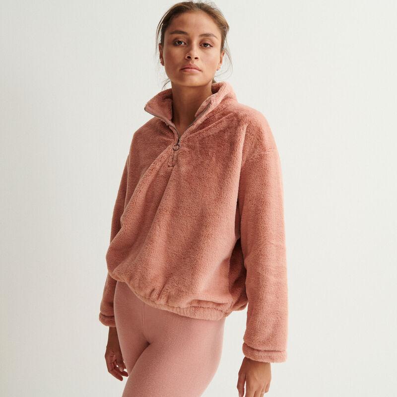 zip-up fleece sweatshirt - nude pink;