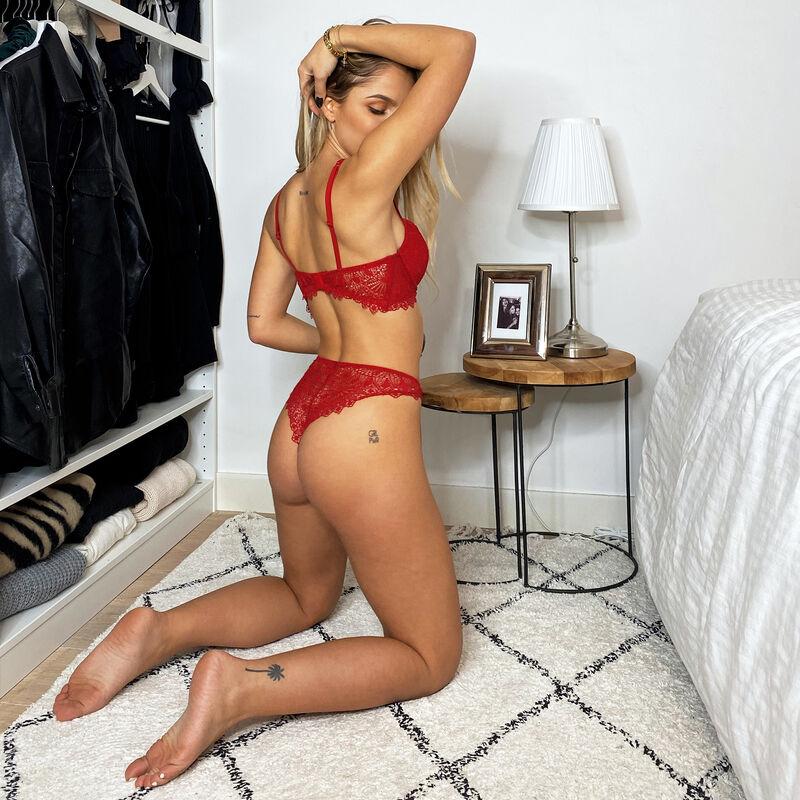 soutien-gorge bustier push-up à détail bijoux - rouge;
