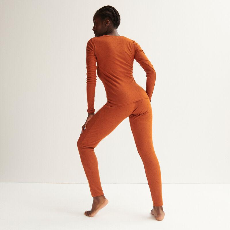 Mottled ribbed leggings - camel;