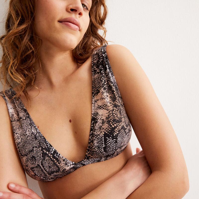Python print bralette bikini top - black;