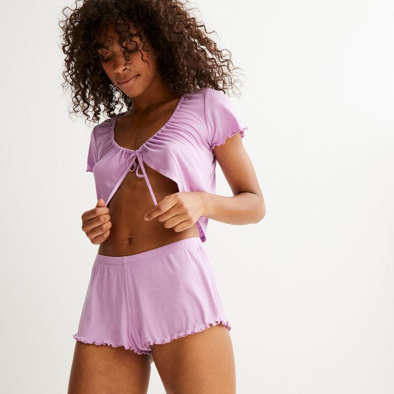 high-cut shorts - lilac;