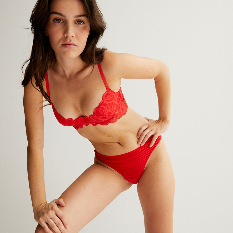 double lace padded bra - red;