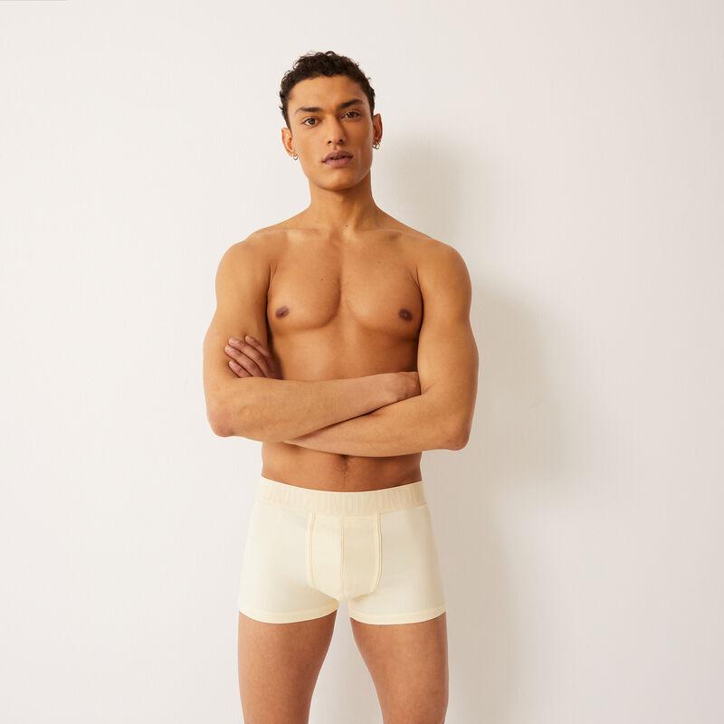 plain boxer with Undiz print elastic - beige.;