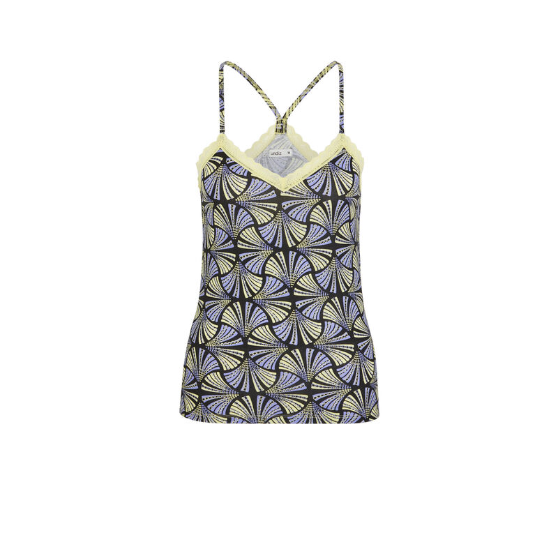 Print top with thin straps - yellow;