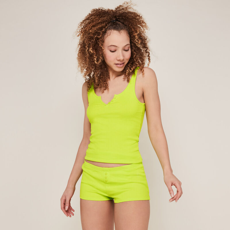 Plain jersey shorts - lime green;
