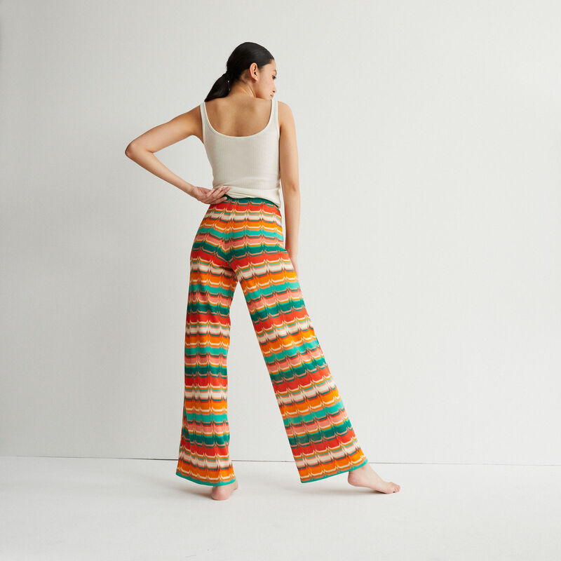 patterned trousers with tie - green;