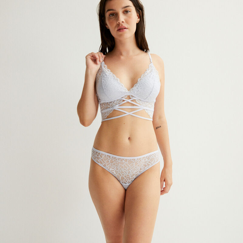 lace push-up triangle bra - blue;