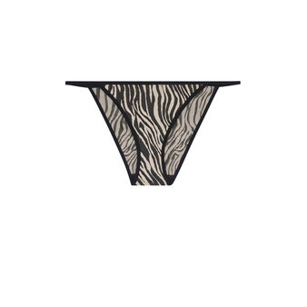 Goldenglamiz zebra print briefs with jewel detail beige.