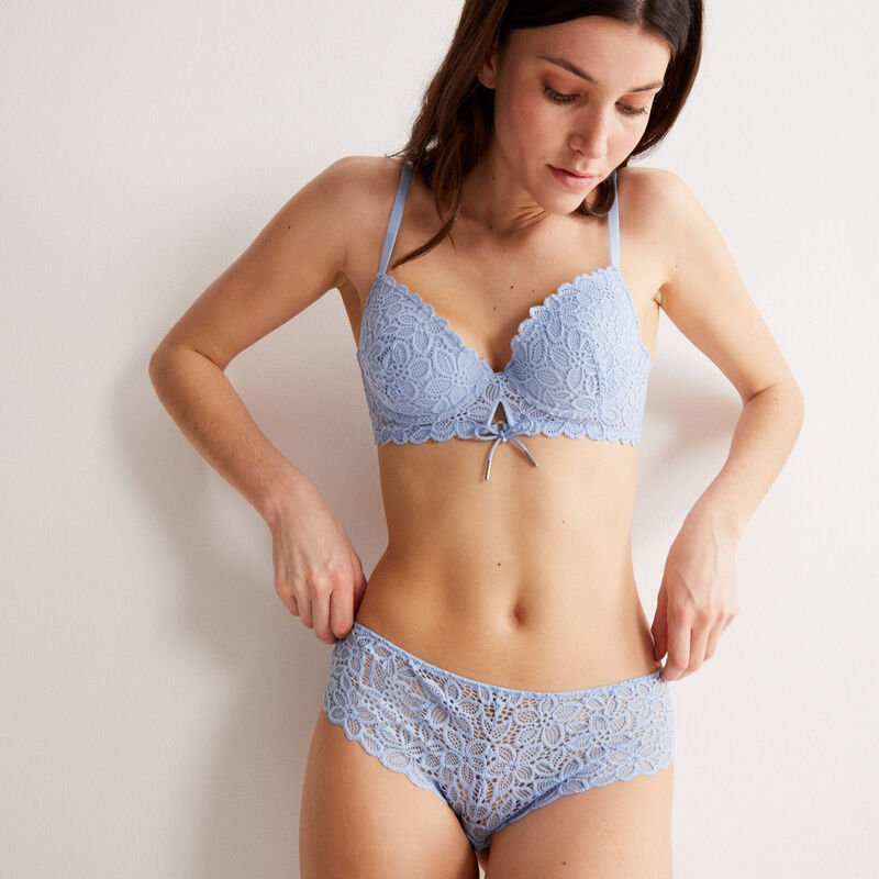padded floral lace bra with bow detail - blue;