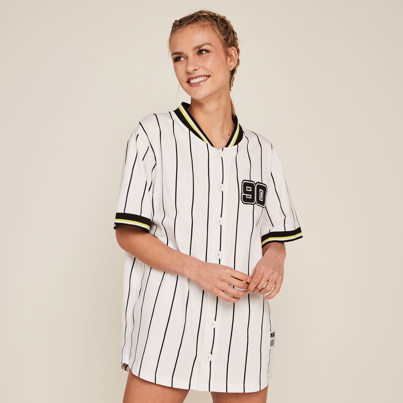 Striped short-sleeved top - white ;