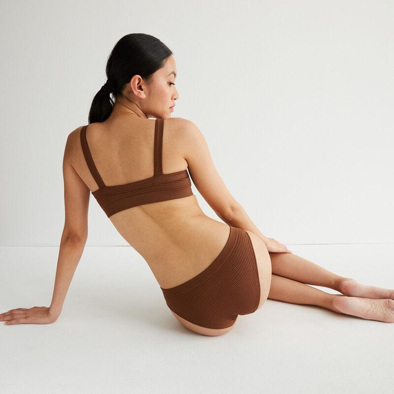 embossed bra with jewel detail - brown;