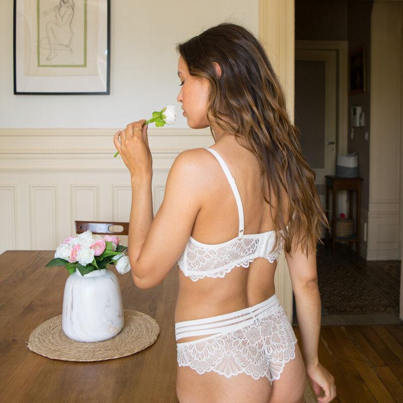 Lace insert tanga briefs - off-white ;
