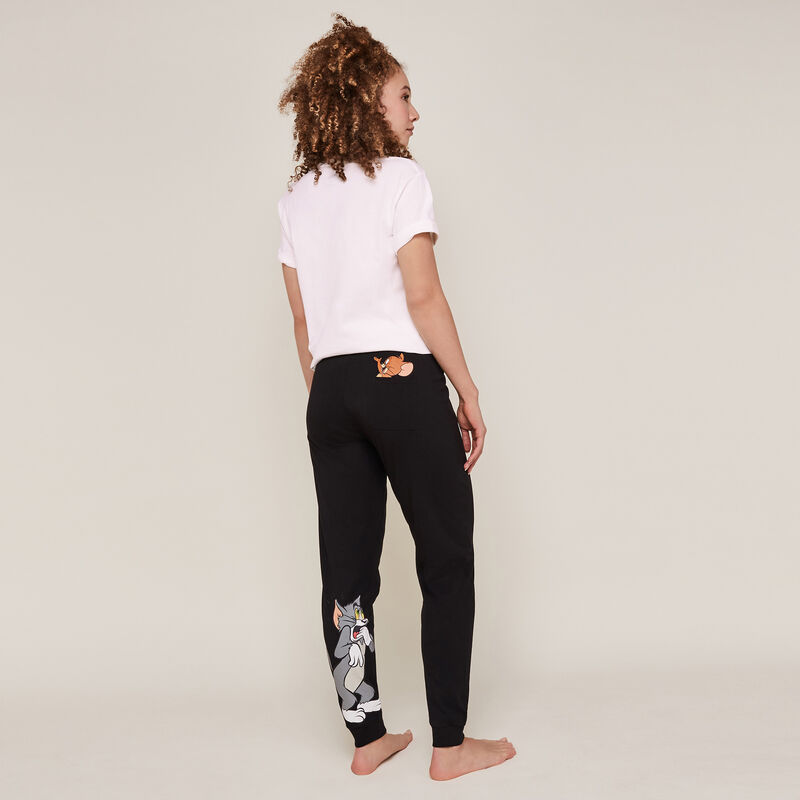 Tom and Jerry print trousers - black;