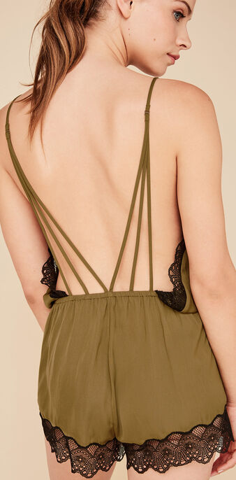 Peepshiz khaki playsuit green.
